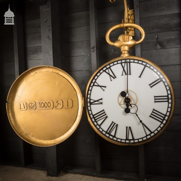 Large 20th C Gold Painted Model Pocket Watch Clock from Jewellers Shop