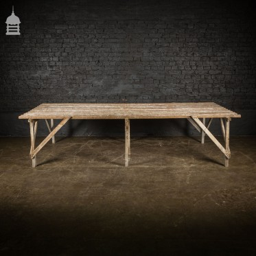 Bygone White Washed Pine Slatted Table Workbench