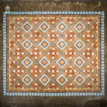 Early 1900's Minton and Hollins Quarry Tile Decorative Floor Mosaic Centre Piece
