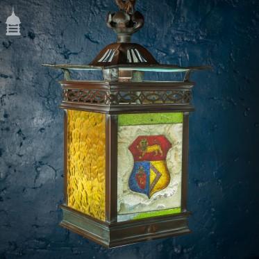 19th C Arts & Crafts Copper Lantern with Heraldic Shield Coloured Glass