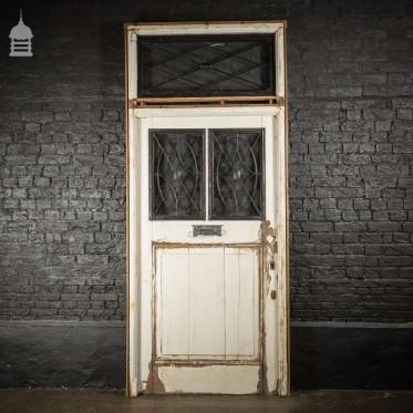 Large Regency Solid Oak Door in Frame Complete with Glazed Overhead and Rose detail Metal Window Grills