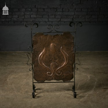 Wrought Iron and Beaten Copper Fire Screen with Scroll Design