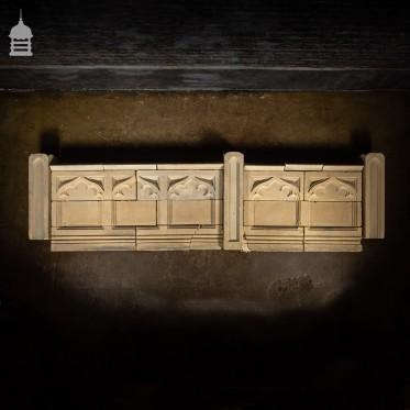 19th C Ecclesiastical Gothic Carved Bath Stone Church Wall