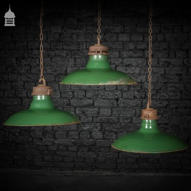 Set of 7 Vintage Industrial Green Enamelled Wardle Pendant Light Shades