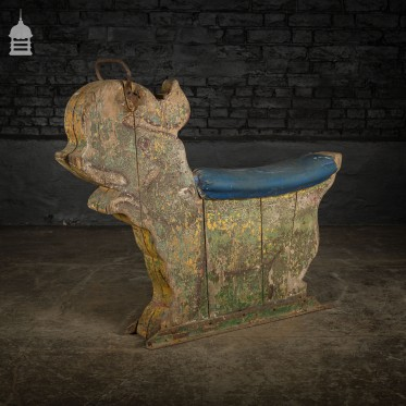 Early 20th C Fairground Merry Go Round Elephant Ride with Blue Seat