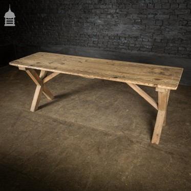 19th C Rustic Pine Kitchen Scrub Table