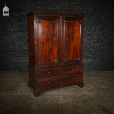 19th C Flame Mahogany Linen Cupboard with Drawers