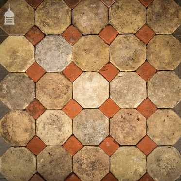 Batch of 350 Reclaimed Octagonal Buff and Red Pamments Floor Tiles 18 SqMs