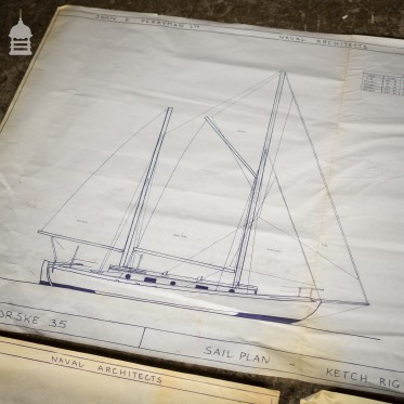 Batch of 660 Vintage Naval Architect Plans Boat Sailboat Technical Drawings