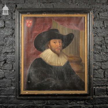 19th C Portrait in Oil of Thomas Benett from a 17th C Original