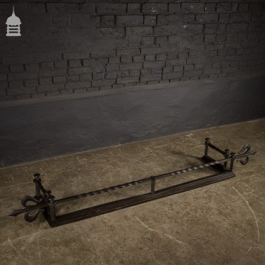 Early 19th C Wrought Iron Fireplace Fender with Twist and Fleur De Lis
