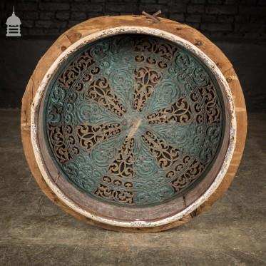 Victorian Cast Iron Circular Air Vent in Pine Frame