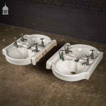Pair of Interlocking Double Basins with Original Taps