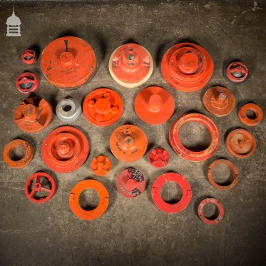 Batch of 26 Circular Red and Silver Industrial Foundry Moulds