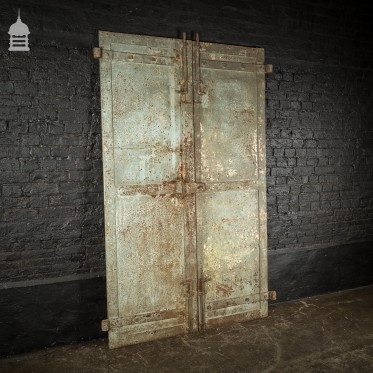 Pair of Large Early 20th C Steel Industrial Factory Doors