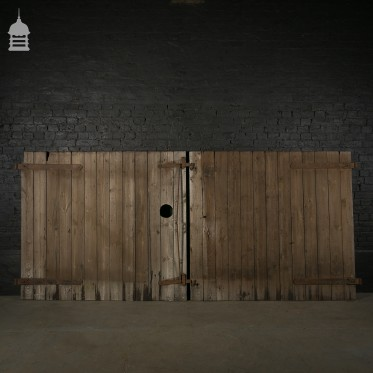 Pair of Reclaimed Pine Ledged and Braced Barn Doors with Double Latch Mechanism