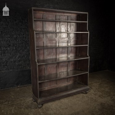 Early 19th C Ebonised Teak Waterfall Shelves Bookcase on Bun Feet