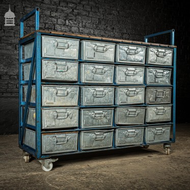 Blue Steel Industrial Workshop Trolley with Bank of 20 Metal Tote Pan Drawers
