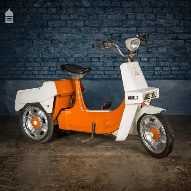 1970's Orange BSA Aerial 3 50cc Motorised Tricycle Moped