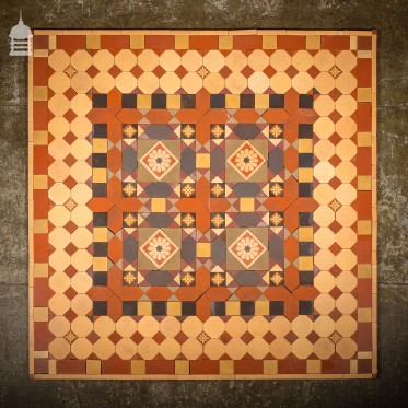 Early 1900's Minton and Hollins Quarry Tile Decorative Floor Mosaic Centre Piece 6ft x 6ft