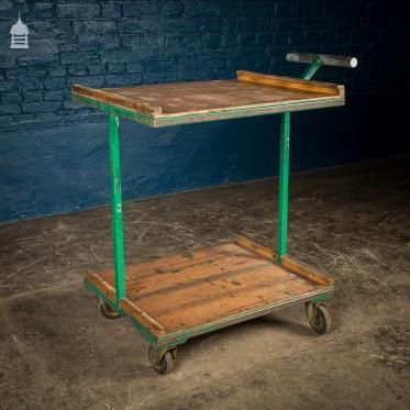 Green Vintage Industrial Wheeled Trolley