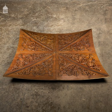 20th C Vaulted Carved Wooden Ceiling Panels Set 2