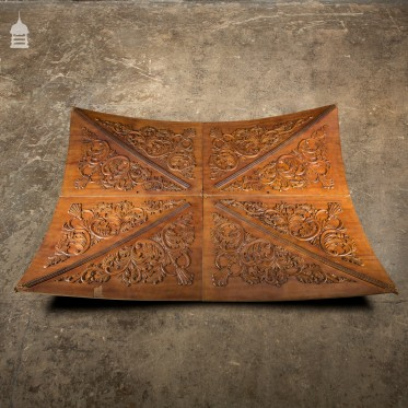 20th C Vaulted Carved Wooden Ceiling Panels Set 3