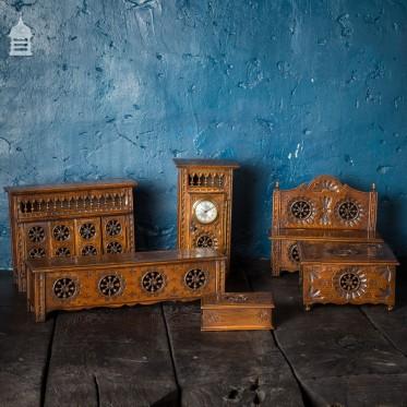 Set of 6 19th C Apprentice Cabinet Maker Furniture Models of Breton Design