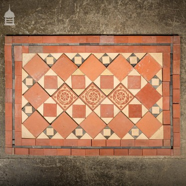 Early 1900's Minton & Hollins Quarry Tile Decorative Doorstep Entrance Hall Mosaic
