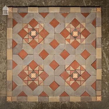 Early 1900's Minton & Hollins Quarry Tile Decorative Centre Piece Mosaic