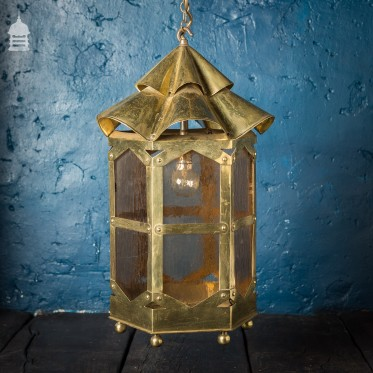 Early 20th C Brass Lantern With Textured Coloured Glass