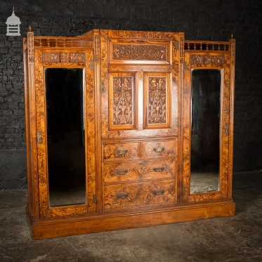 19th C Aesthetics Movement Exquisitely Detailed Pitch Pine Mirrored Bedroom Wardrobe