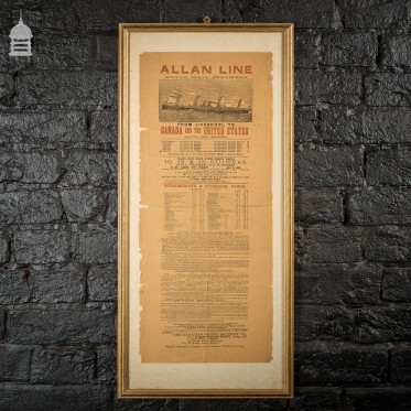 Allan Line Royal Mail Steamers Poster 1891 Liverpool to Canada and The United States