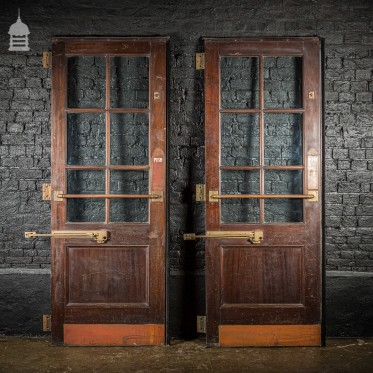 Pair of 19th C Mahogany Commercial Entrance Doors with Original Brass Hardware