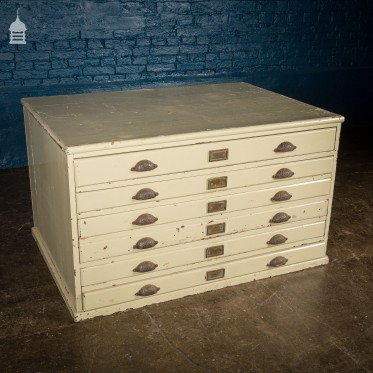 19th C Painted Plans Chest With Original Cup Handles