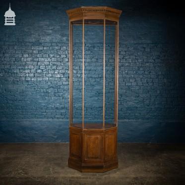 Tall 19th C Glazed Mahogany Display Case with Oak Scumble Finish