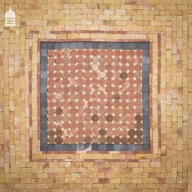 Bespoke Buff, Red and Staffordshire Blue Combination Britannia Handmade Floorbrick Centre Feature