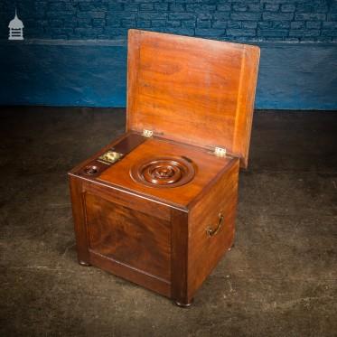 19th C Travelling Mahogany Thunder Box with Brass Handles