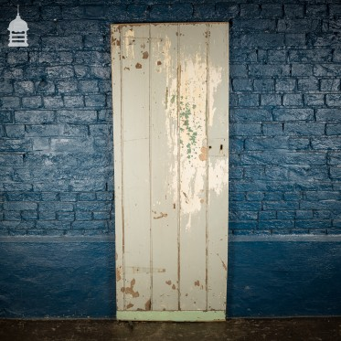19th C Braced and Ledged Pine Cottage Door with Grey Distressed Painted Finish