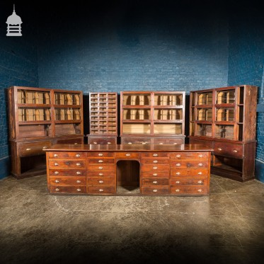 Complete Early 20th C Mahogany and Pine Haberdashery 5 Piece Shop Setup