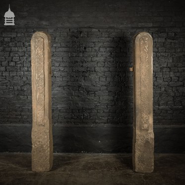 Pair of 18th C Hand Chiseled Stone Gate Posts