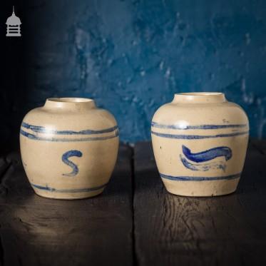 Pair of Small 19th C Delftware Pots