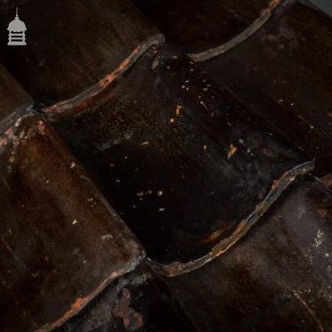 Reclaimed Black Glazed Handmade Norfolk Pan Tiles