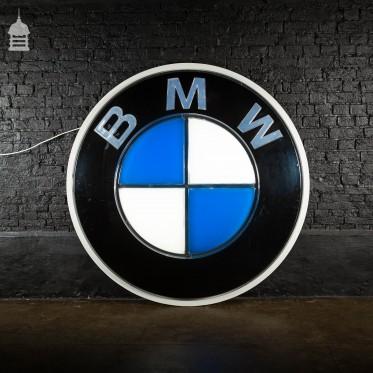 Large Vintage Light Up Illuminated BMW Advertising Sign Automobilia