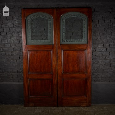 Pair of 19th C Flame Mahogany Double Doors with Etched Glass Panels