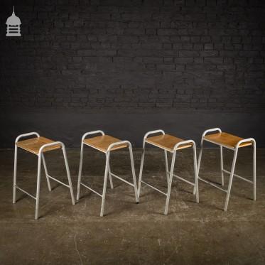 Set of 4 Vintage Steel Framed Stackable School Lab Stools - 14 sets available