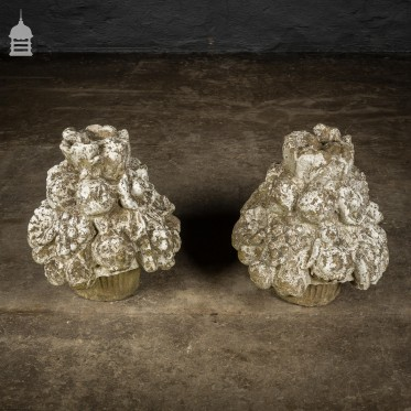 Pair of Reclaimed Composition Stone Fruit Finials Pier Caps
