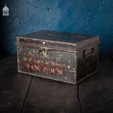 Small 19th C Metal Deed Box Chest The Trustees of The Marriage Settlement of Mr & Mrs E. M. M.