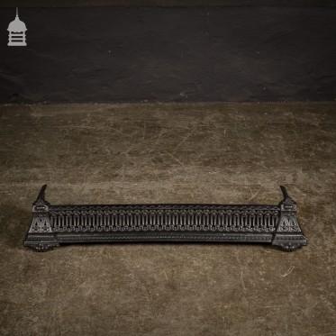 Small Decorative Victorian Cast Iron Fireplace Fender