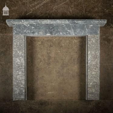 Simple 19th C Dark Grey Marble Fireplace